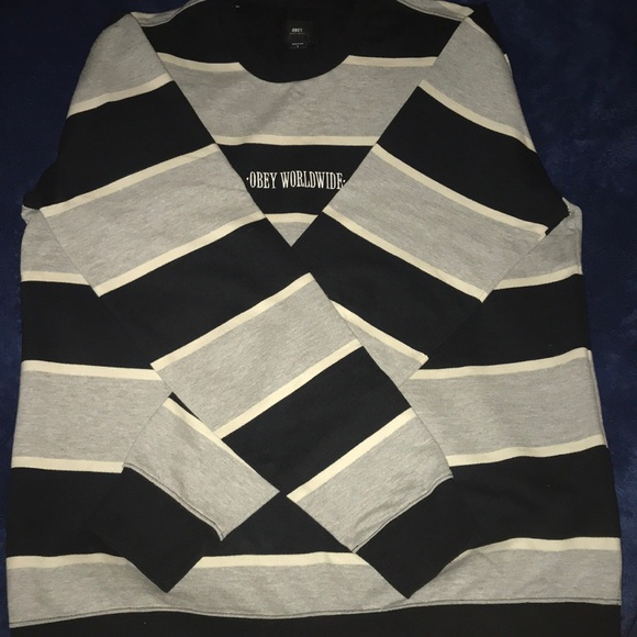 Obey Other - Obey Worldwide Men's Striped Sweater Large